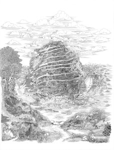 Angelika Arendt, Babel, 2013, Tusche auf Papier/ink on paper, 80 x 60 cm